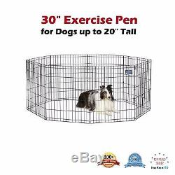 Portable Exercise Pen Dog Pets Gate 30 Inch Outdoor/Indoor Metal Black