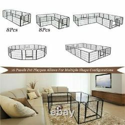 Portable Pet Playpen Puppy Dog Fences Gate Indoor&Outdoor Fence Exercise 16panel