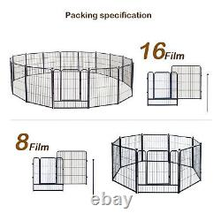 Puppy Playpen Metal Heavy Duty Dog Exercise Protect PenOutdoor Foldable 16pc 32