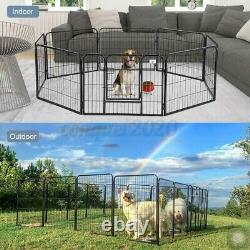 Safety 24 Heavy Duty Metal Dog Cat Exercise Fence Playpen Kennel Pet 16 Panel