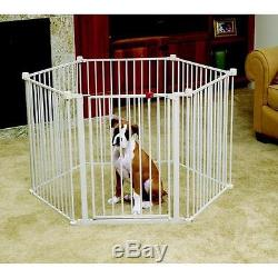 Sturdy Convertible Indoor Outdoor Pet Fence Dog Exercise Pen 12 ft Gate Barrier