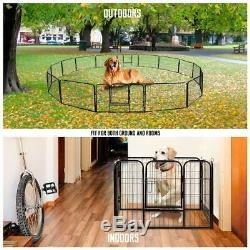 VIVOHOME Heavy Duty Metal Cage Crate Pet Dog Cat Fence Exercise Playpen 16-Panel