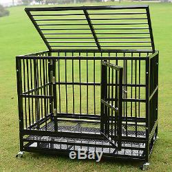XL 37 Dog Crate Kennel Heavy Duty Pet Cage Playpen with Metal Tray Exercise Pan
