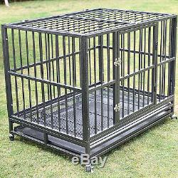 XXL 42 Heavy Duty Dog Pet Cage Crate Kennel Playpen Exercise Pan with Tray New