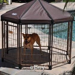Yard Kennel For Dog Metal Cage Door Fabric Roof Outdoor Pet Exercise Shelter Pen