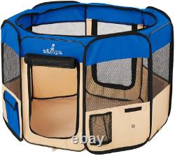 Zampa Portable Foldable Pet Playpen Exercise Pen Kennel + Carrying Case For Larg